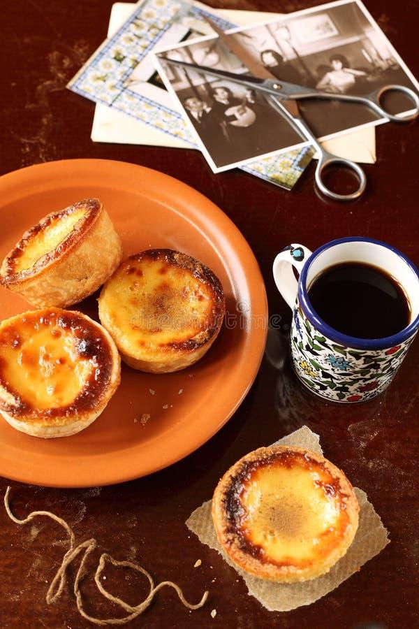 Tartas portuguesas de las natillas fotografía de archivo