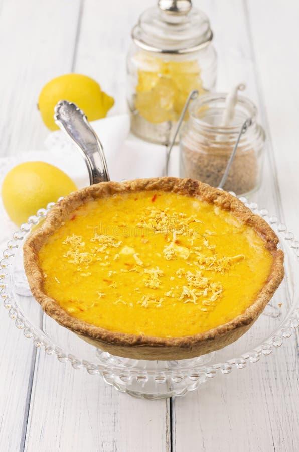 Tarte au Citron. As closeup on a cake plate royalty free stock photos