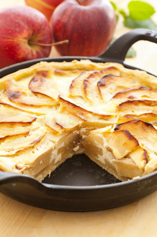 Tarte aux pommes. With fresh apples stock photography