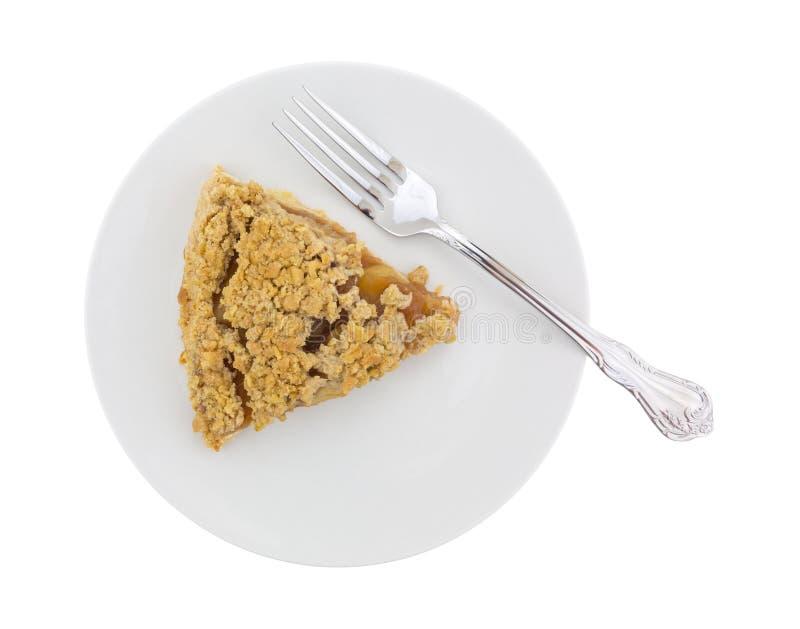Tarte aux pommes néerlandaise d'un plat avec une fourchette photographie stock libre de droits