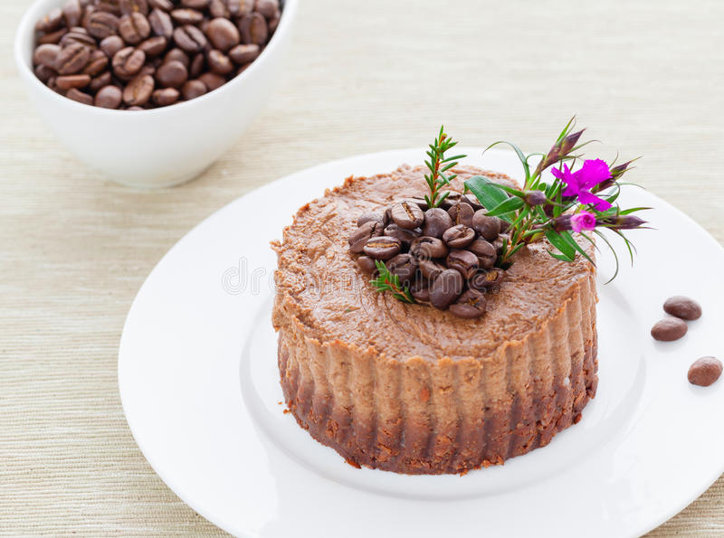 Tarte crue de café de vegan photo stock
