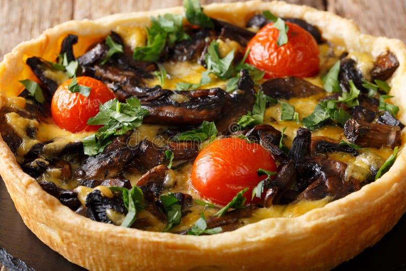 Tarte délicieuse de champignon avec du fromage, des verts et la fin-u de tomates photographie stock libre de droits