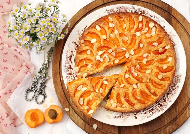 Tarte d'abricot et bouquet des marguerites photographie stock libre de droits