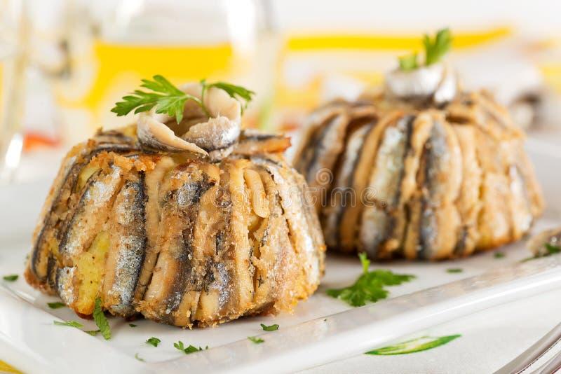 Tarte d'anchois images libres de droits