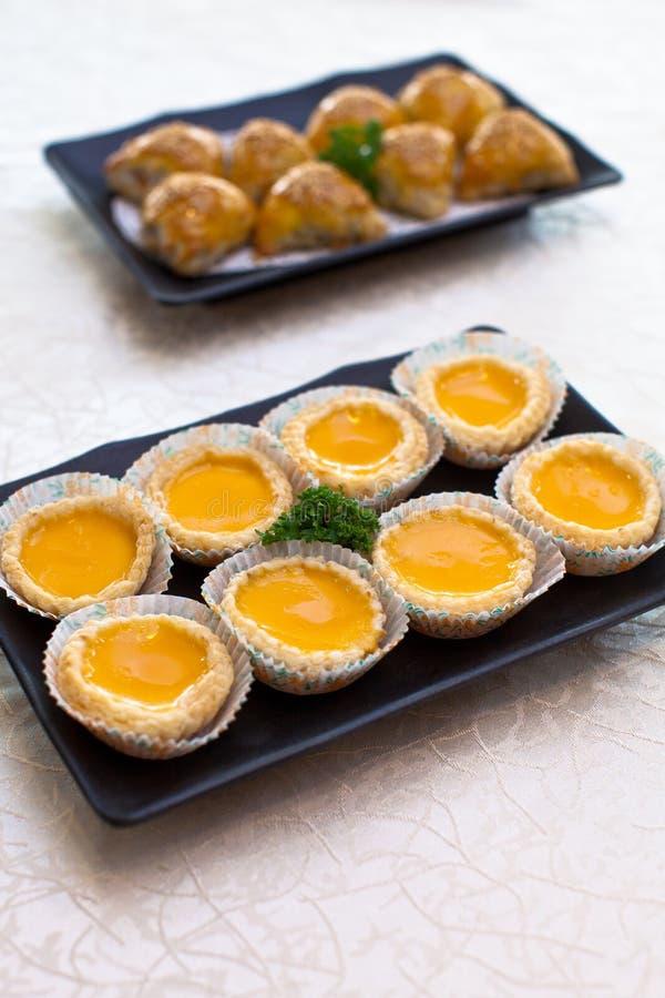 Tarte d'oeufs ou tarte de crème anglaise d'oeufs photographie stock libre de droits