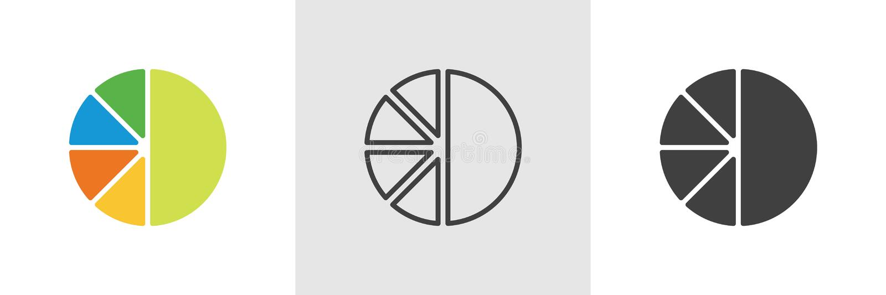 Tarte de diagramme, icône de diagramme illustration stock