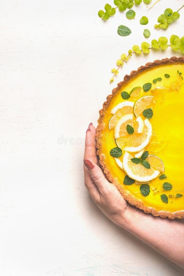Tarte femelle de citron de participation de main complétée avec des tranches d'agrume sur le fond blanc de table, vue supérieure  photographie stock libre de droits
