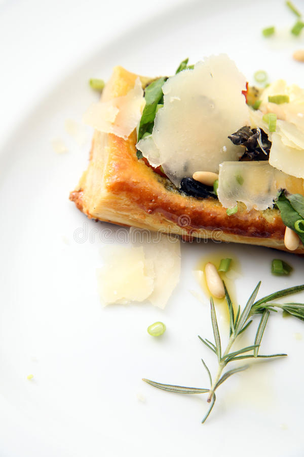 Tarte fine aux food. Tarte fine aux or tart vin food with cheese royalty free stock images