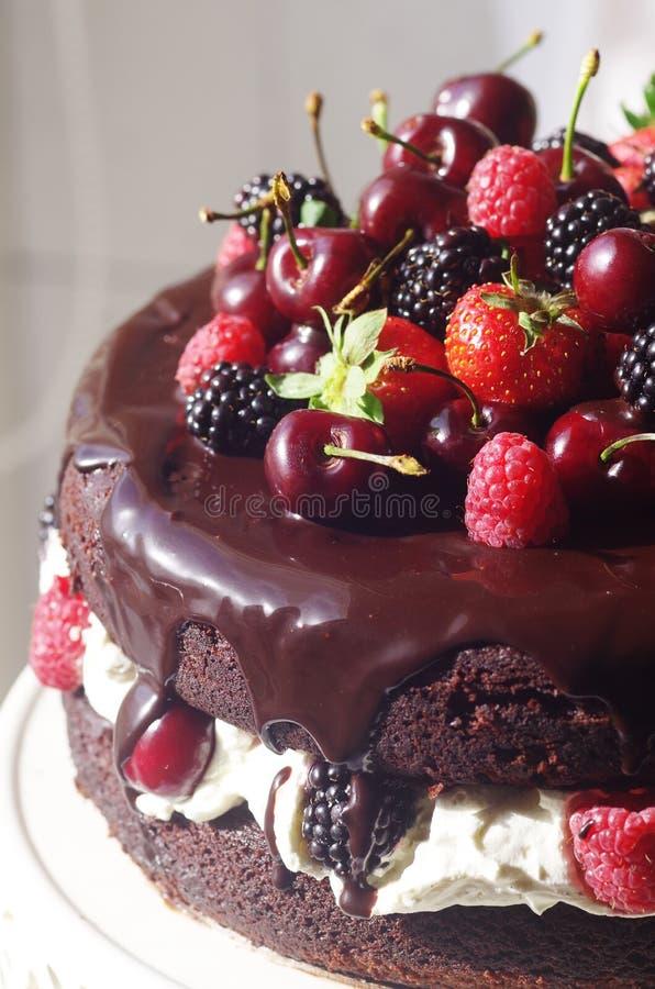 Tarte noir de chocolat avec des cerises de framboises de fraises images stock