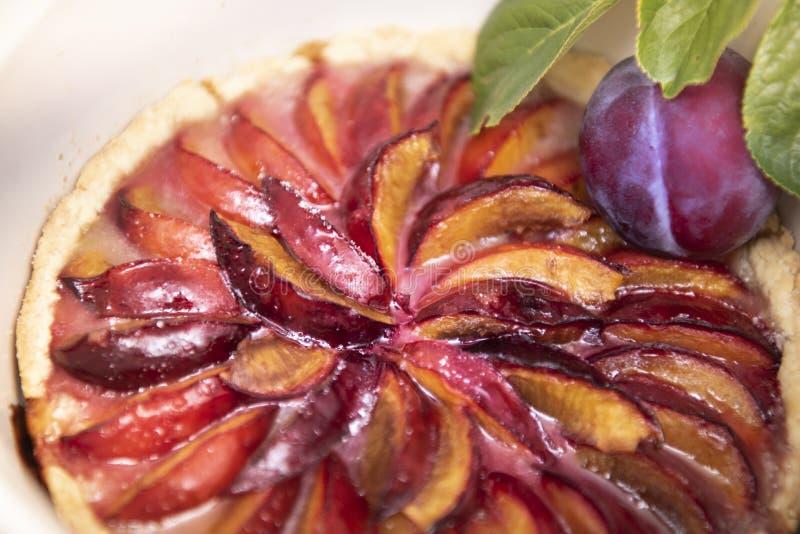 Tarte organique cuit au four frais de prune de fruit à noyau photos libres de droits