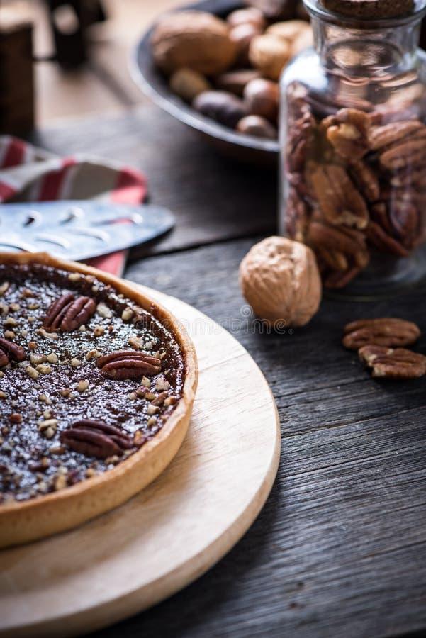 Tarte traditionnel de noix de pécan image libre de droits