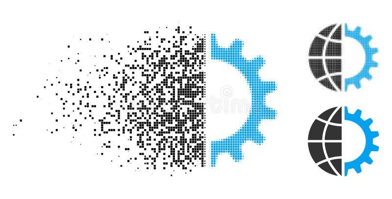 Tartego kropki Halftone przemysłu Globalna ikona ilustracji