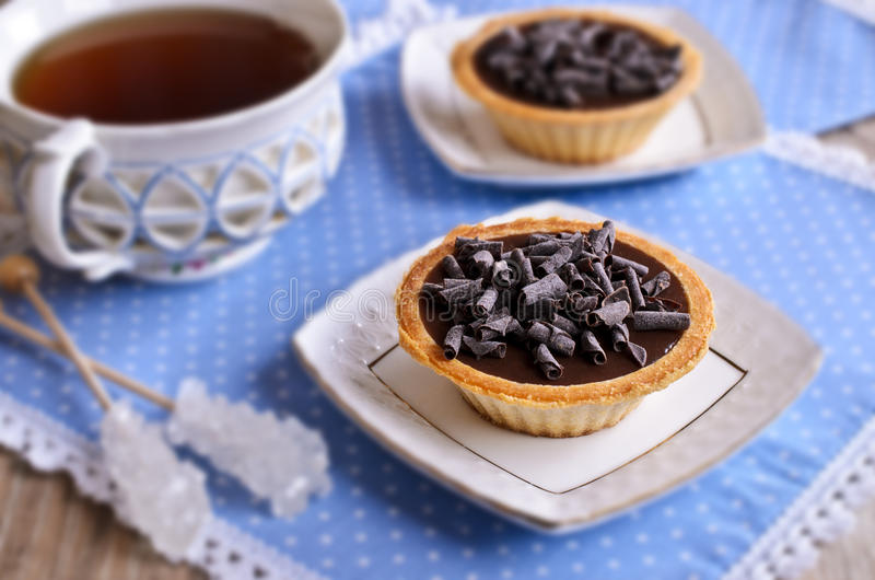 Tartelette avec du chocolat photo stock
