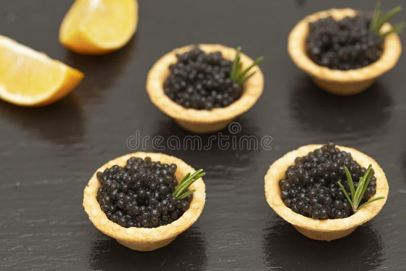 Tartelettes avec la fin noire de caviar  Haut ?troit de Plats gastronomiques, ap?ritif delicatessen Nourriture gastronome Texture photographie stock