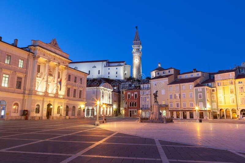 Tartini fyrkant i Piran, Slovenien, Europa royaltyfria foton