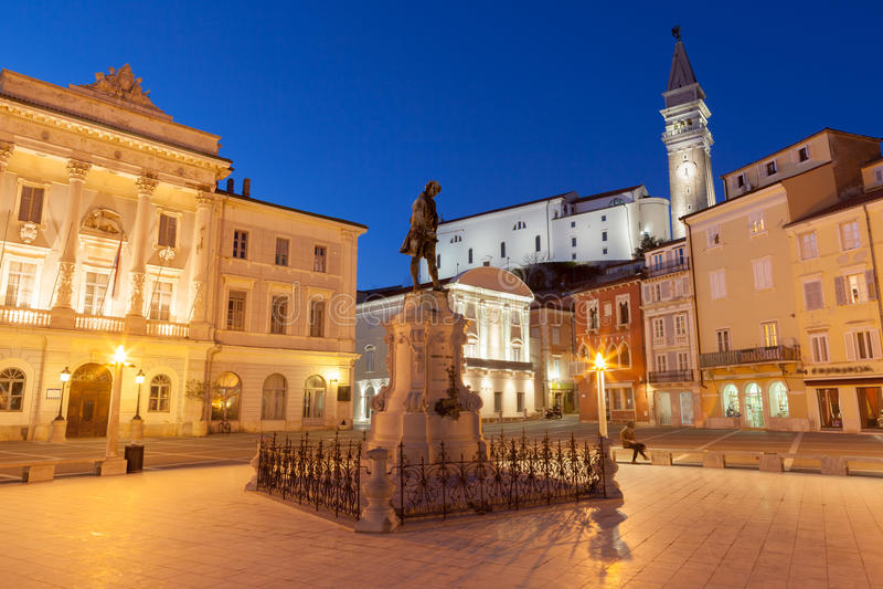 Tartini square in Piran, Slovenia, Europe stock images