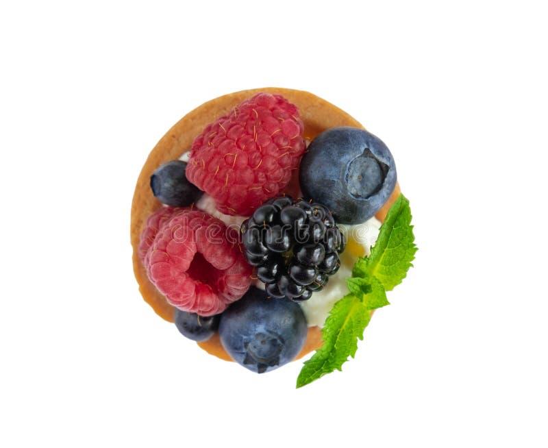 Tartlet mit Beeren der Himbeere, Heidelbeere, Brombeere, Blaubeere lokalisiert auf weißem Hintergrund Kuchen mit Beeren, tadellos stockfotografie