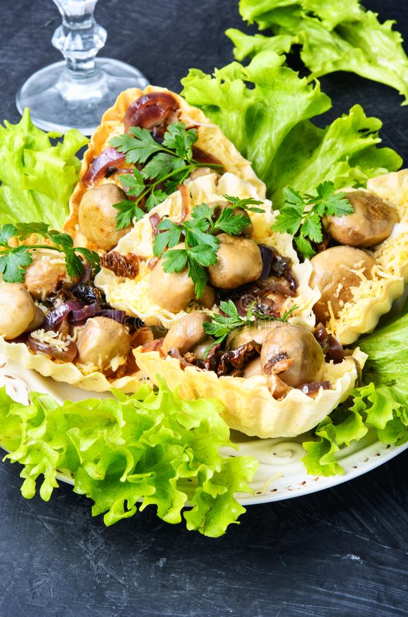 Tartlet with mushrooms royalty free stock image