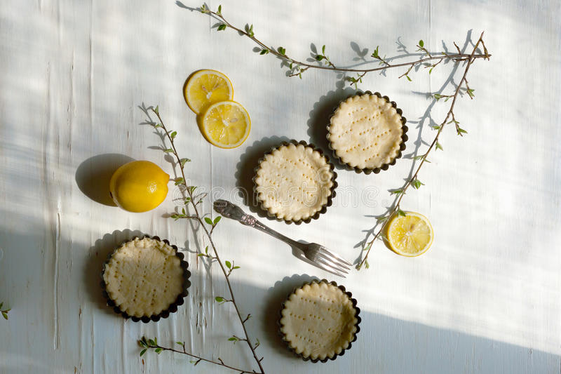 Tartlets com limão e ramos imagens de stock royalty free