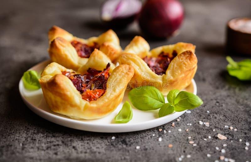 Tartlets de la cebolla roja y del tomate secado al sol mini foto de archivo libre de regalías