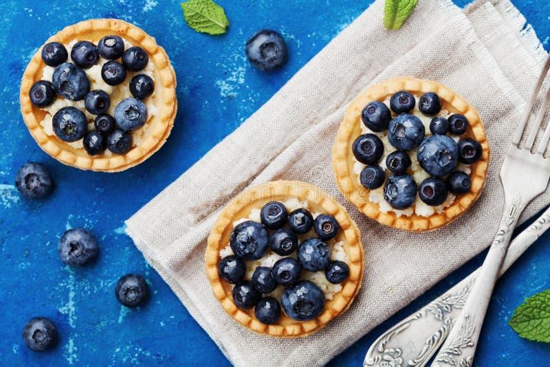 Tartlets med blåbär-, blåbär-, ricotta- och honungsirap på bästa sikt för tappningbakgrund läcker efterrätt Lekmanna- utforma för arkivfoton