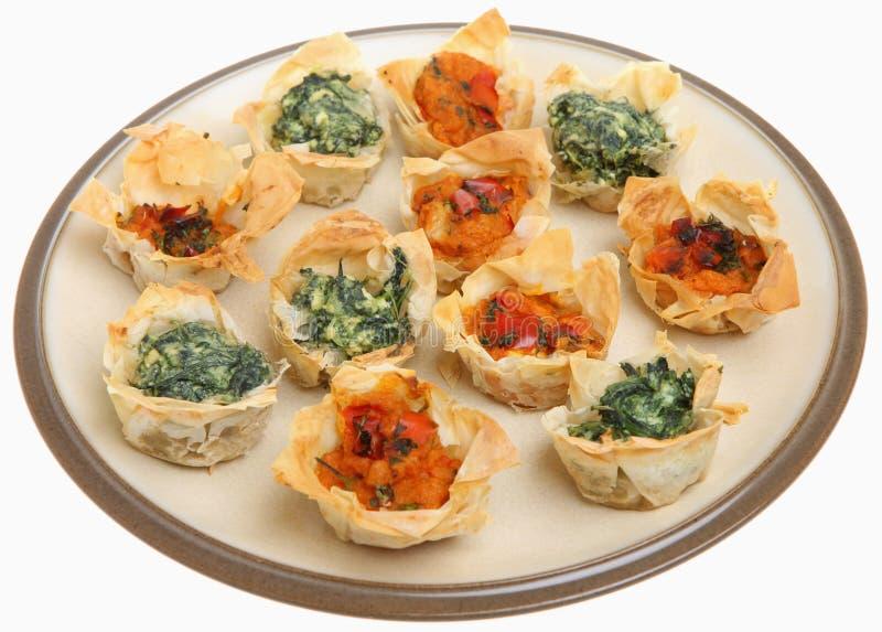 Tartlets mediterráneos de Filo imagen de archivo