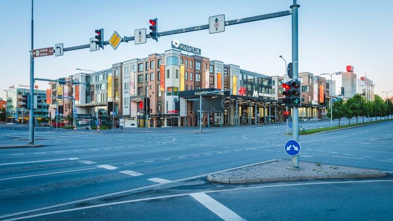 Tartu, Эстония - 9-ое июня 2016: Центр города Tartu в утре стоковое изображение