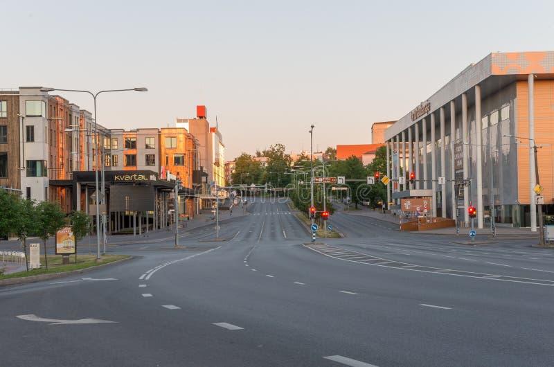 Tartu, Эстония - 9-ое июня 2016: Центр города Tartu в утре стоковая фотография