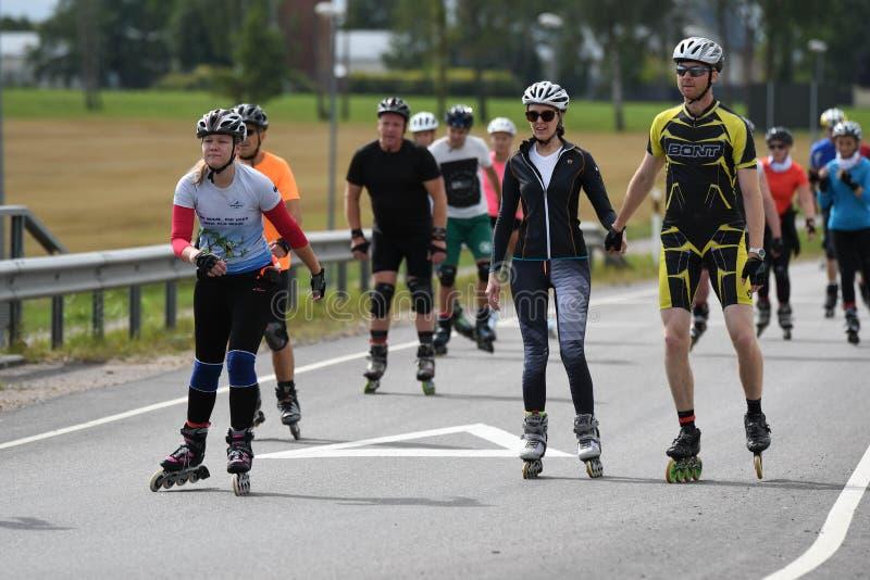 Tartu/Estônia - 26 de agosto de 2018: Maratona de patinagem Inline de Tartu foto de stock royalty free