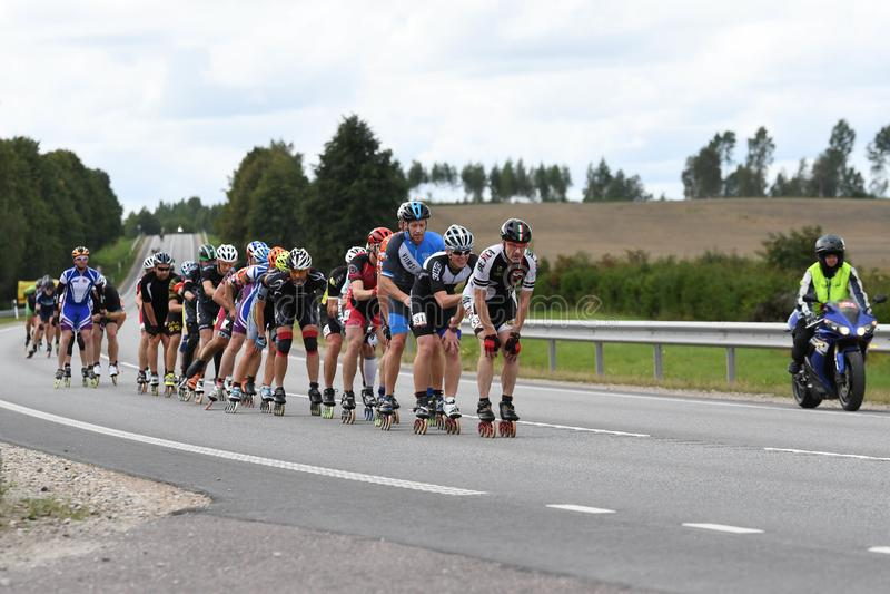 Tartu/Estland - 26. August 2018: Inline-Eislaufmarathon Tartu stockfotos