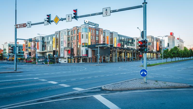 Tartu Estonia, Czerwiec, - 9 2016: Tartu centrum miasta w ranku obraz stock