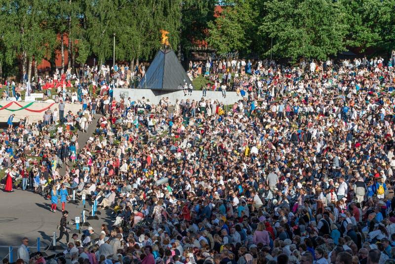 Tartu/Estonia - 22 giugno 2019: Festival di canzone di Tartu fotografia stock libera da diritti