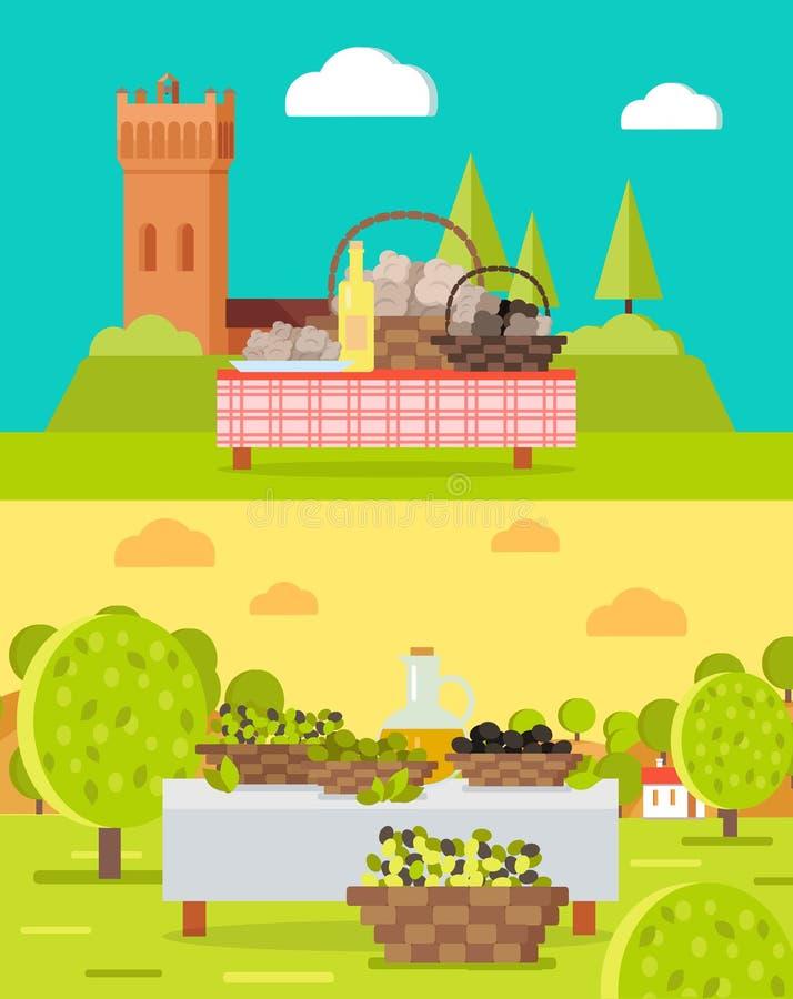 Tartufi e Spagnolo italiani Olive Oil Concepts royalty illustrazione gratis