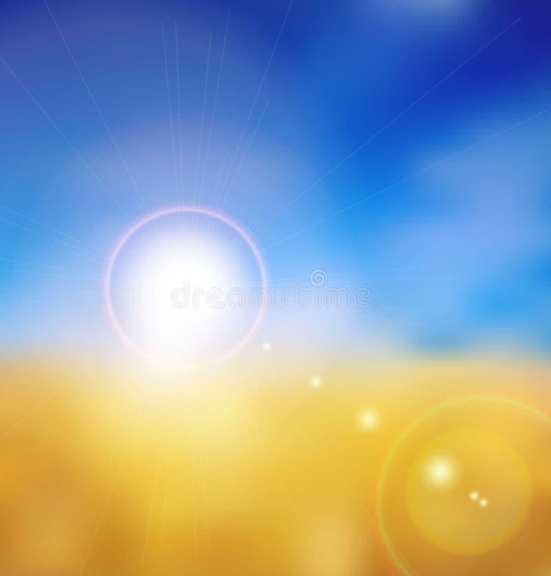 Tarwegebied en hemel vector illustratie