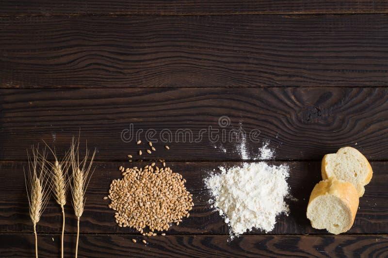 Tarweoren, korrels, bloem en gesneden brood op een donkere houten lijst stock foto