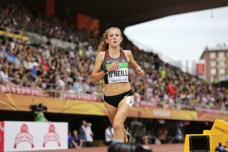 """TARYN o """"NEILL от Канады было 6-ым в 3000 МЕТРАХ окончательных на чемпионатах мира U20 IAAF внутри стоковое изображение"""