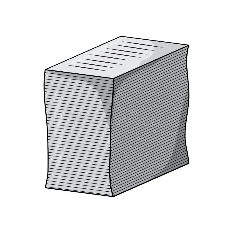 Tas de conception de vecteur de bande dessinée de feuille d'écritures d'isolement sur le blanc illustration de vecteur