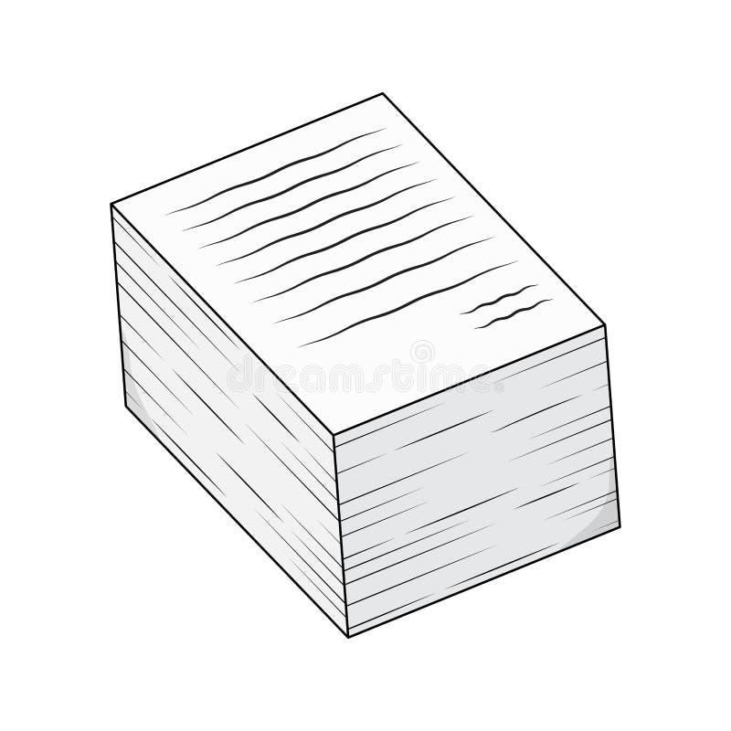 Tas de conception de vecteur de bande dessinée de feuille d'écritures d'isolement sur le blanc illustration libre de droits
