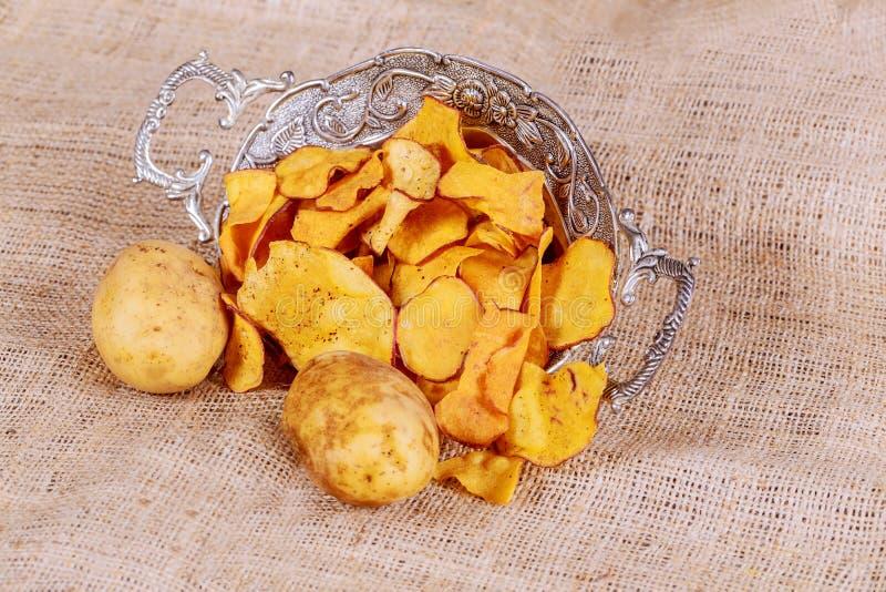 Tas de fond de Paprika Potato Chips images stock