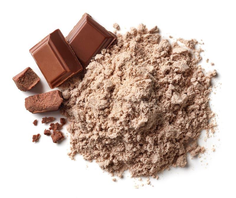 Tas de poudre de protéine de chocolat images libres de droits