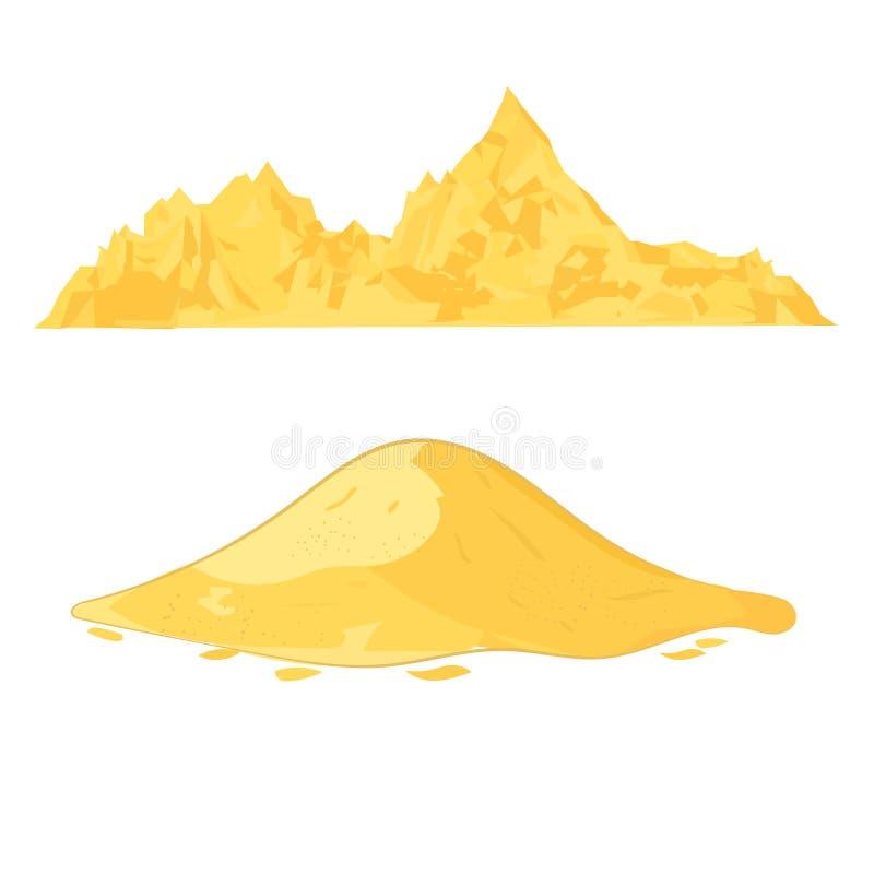 Tas de sable Pile de ciment ou illustration à sable jaune de vecteur de bande dessinée de monticule d'isolement sur le fond blanc illustration stock