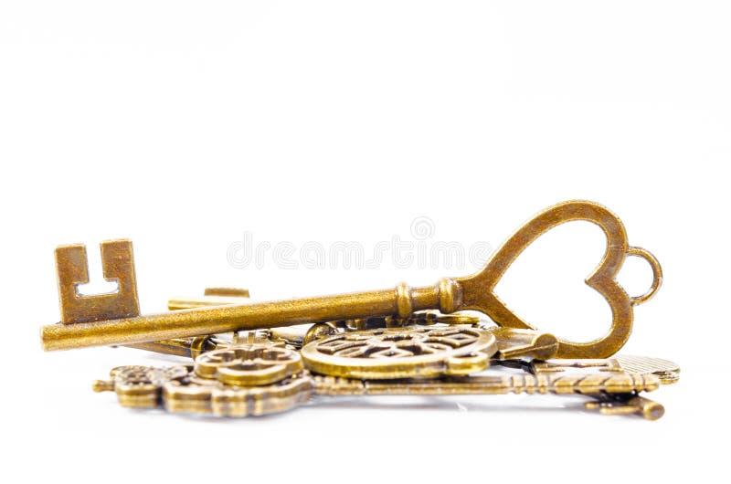 Tas de vintage de clés image stock