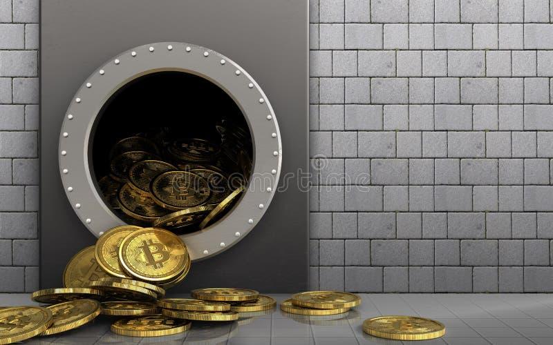tas des bitcoins 3d au-dessus des pierres blanches illustration de vecteur