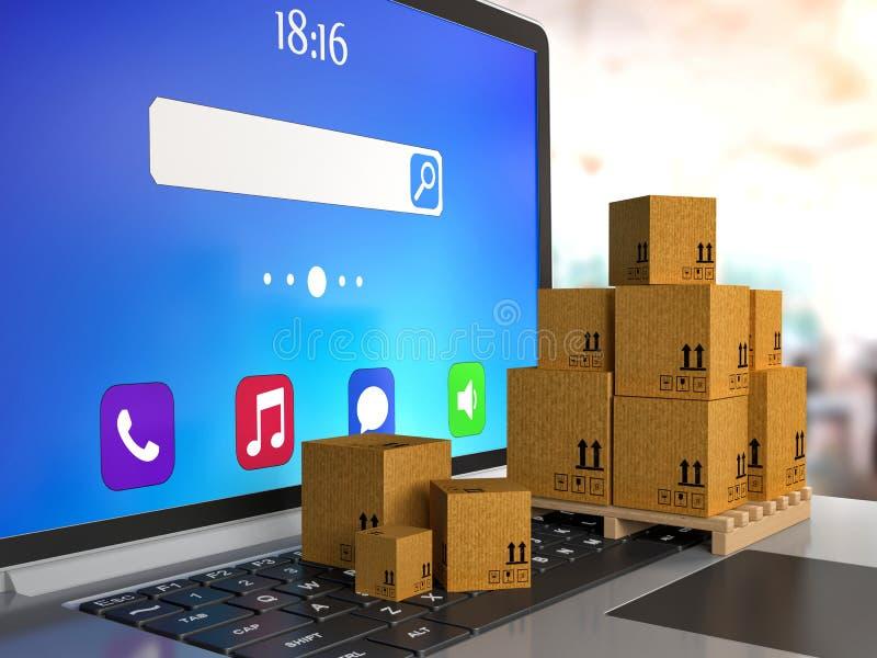 Tas des boîtes empilées de paquet de carton ondulé sur l'ordinateur illustration de vecteur