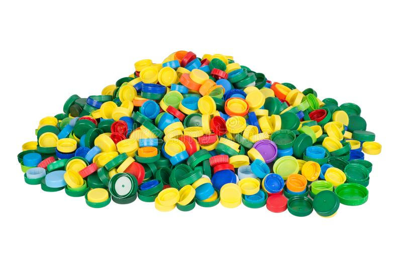 Tas des chapeaux en plastique colorés prêts pour la réutilisation photos libres de droits