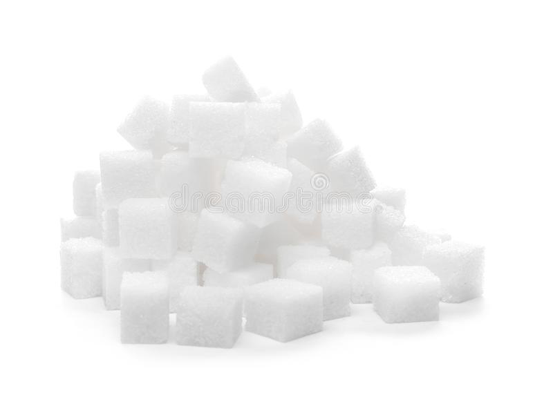 Tas des cubes en sucre raffiné photographie stock libre de droits