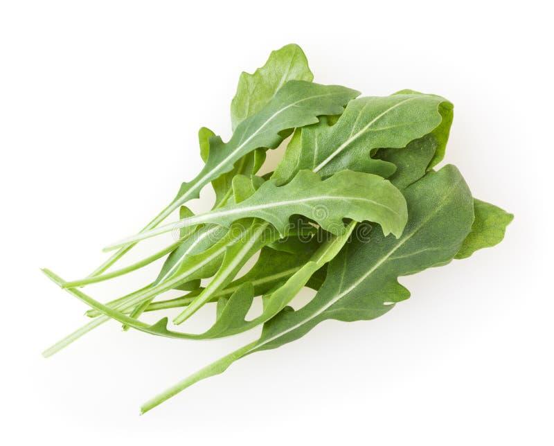 Tas des feuilles fra?ches d'arugula d'isolement sur le blanc photo stock