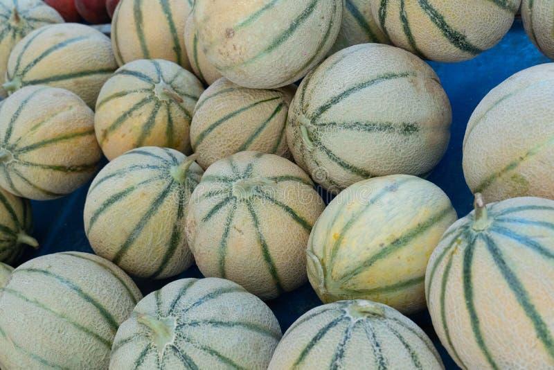 Tas des melons frais de cantaloup photo libre de droits