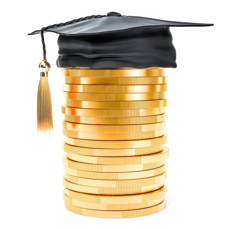 Tas des pièces de monnaie d'or avec le chapeau d'obtention du diplôme L'épargne pour l'éducation illustration de vecteur