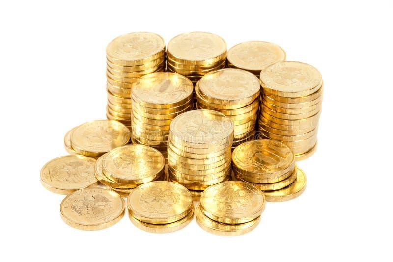 Tas des pièces de monnaie russes image libre de droits